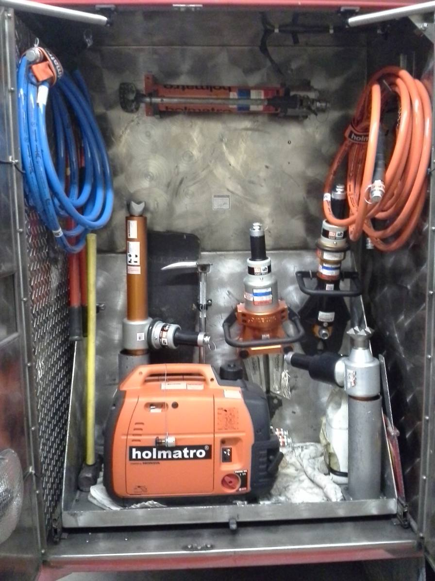 Rescue tools as stored in their compartment
