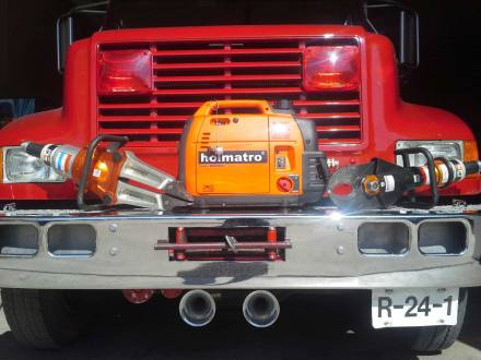 Rescue tools displayed on front of truck