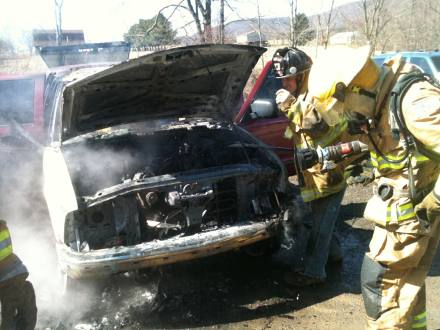 vehicle fire - front view